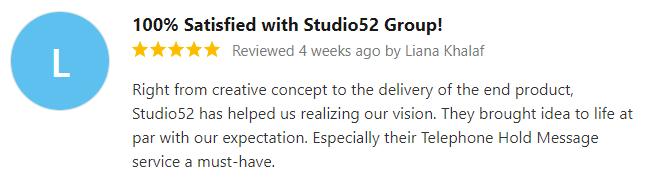 Studio52 - Client Review